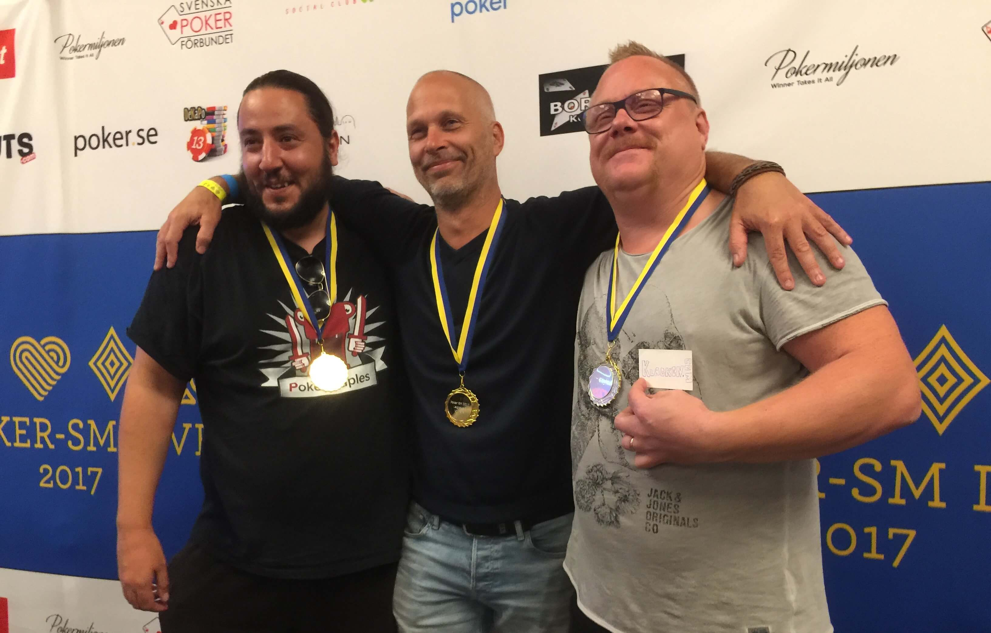 Adam Romdhane, Christer Pettersson och Thomas Holm, vinnare av Lagpoker-SM 2017